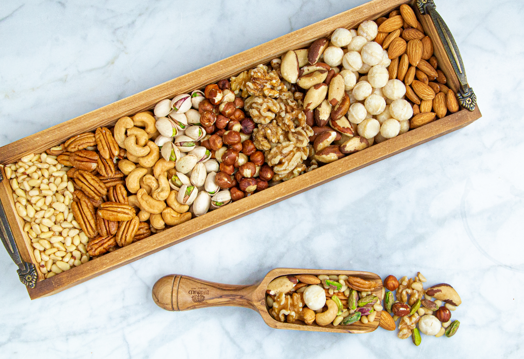 Assorted nuts in a wooden container