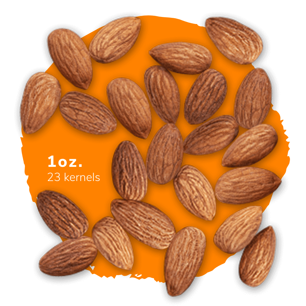1 oz. of almonds is about 23 kernels
